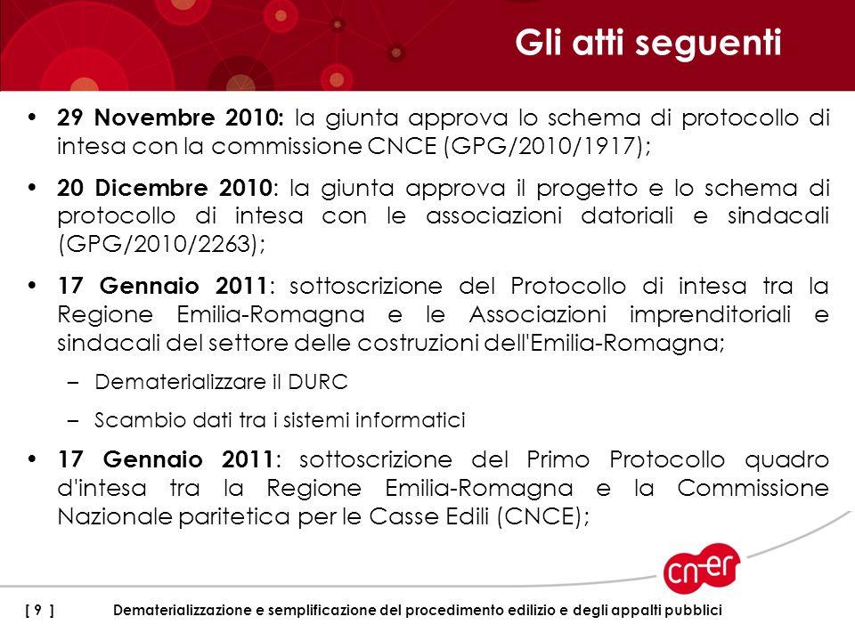 Gli atti seguenti29 Novembre 2010: la giunta approva lo schema di protocollo di intesa con la commissione CNCE (GPG/2010/1917);