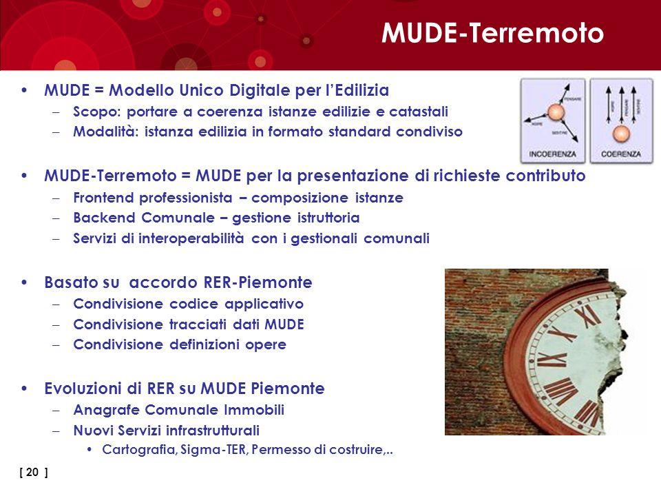 MUDE-Terremoto MUDE = Modello Unico Digitale per l'Edilizia