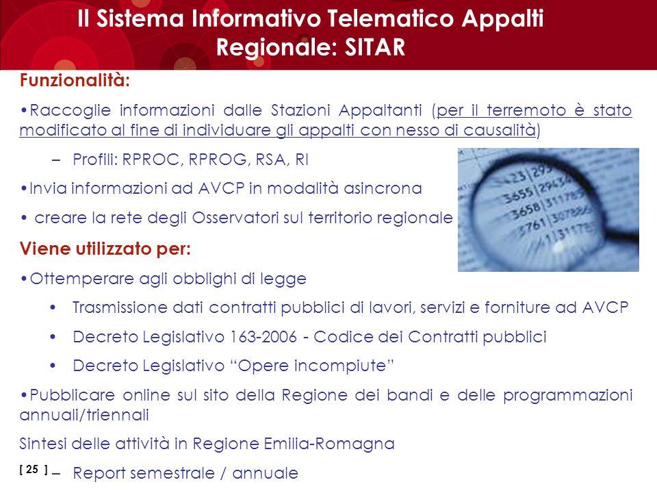 Il Sistema Informativo Telematico Appalti Regionale: SITAR