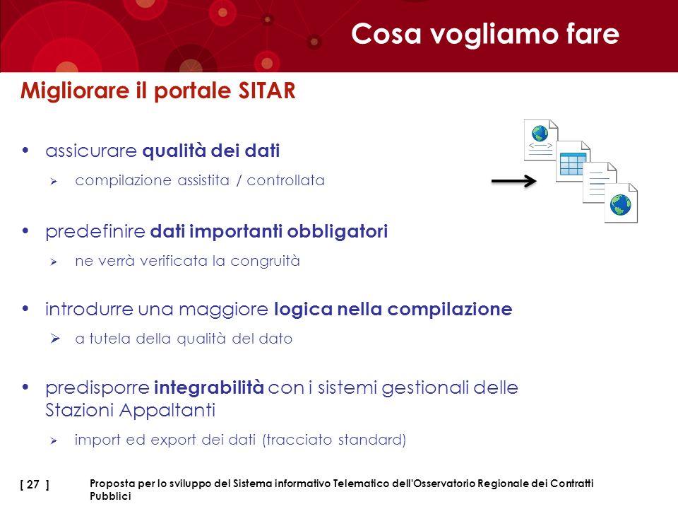 Cosa vogliamo fare Migliorare il portale SITAR