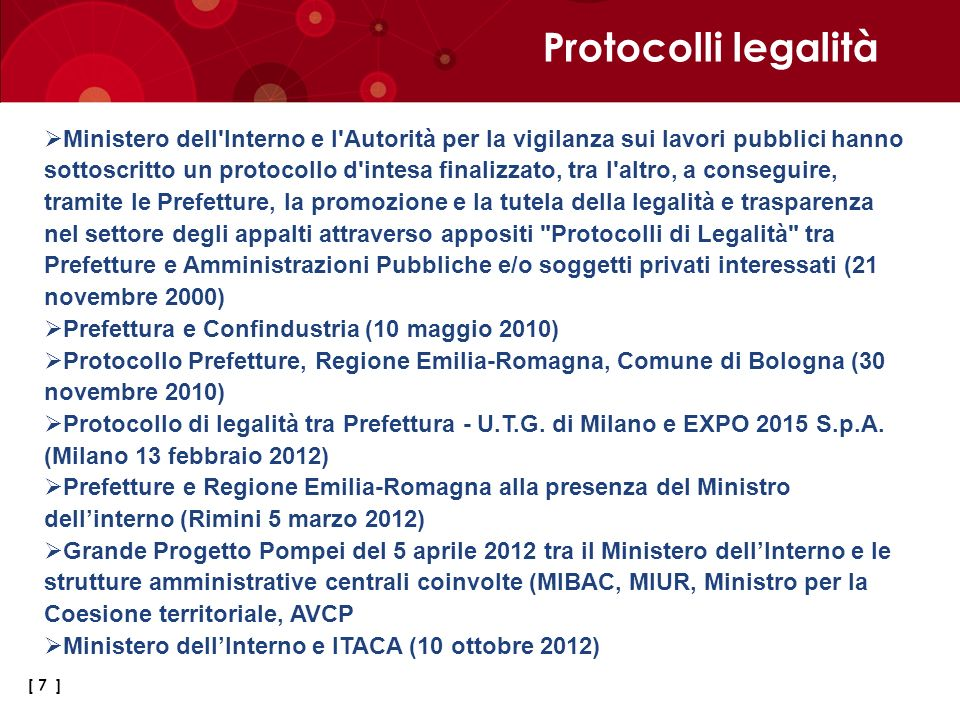 Protocolli legalità
