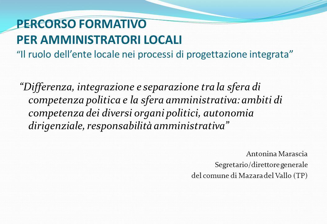 PERCORSO FORMATIVO PER AMMINISTRATORI LOCALI Il ruolo dell'ente locale nei processi di progettazione integrata