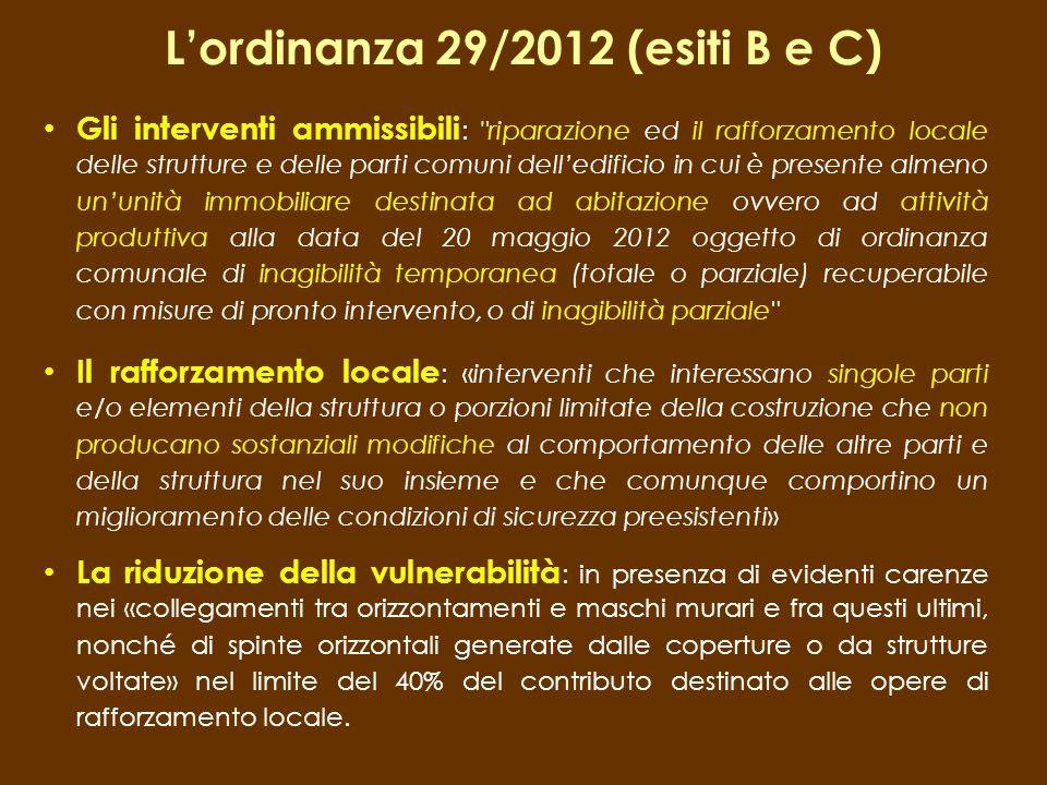 L'ordinanza 29/2012 (esiti B e C)