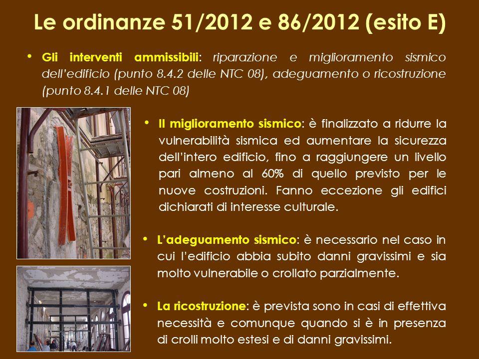 Le ordinanze 51/2012 e 86/2012 (esito E)