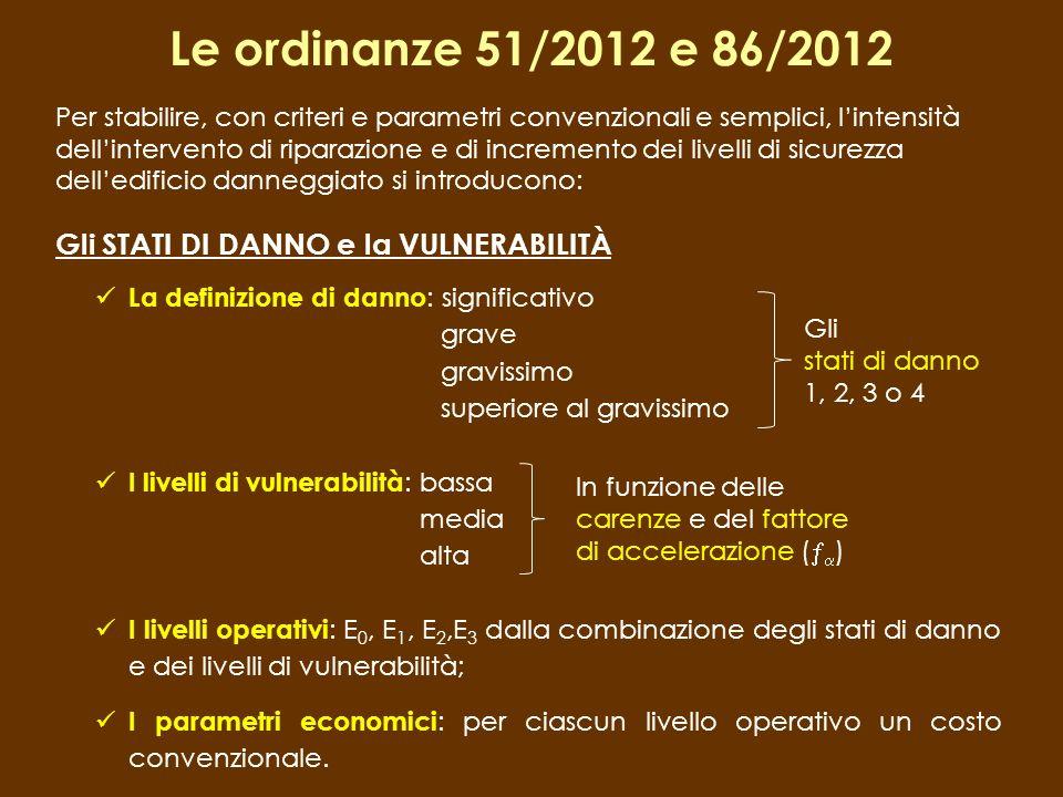 Le ordinanze 51/2012 e 86/2012 Gli STATI DI DANNO e la VULNERABILITÀ