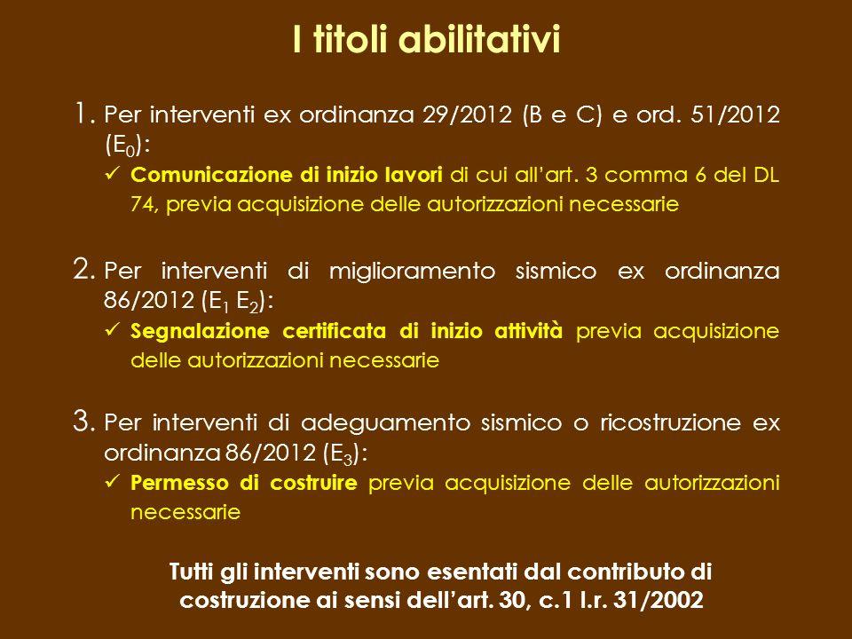 I titoli abilitativi Per interventi ex ordinanza 29/2012 (B e C) e ord. 51/2012 (E0):