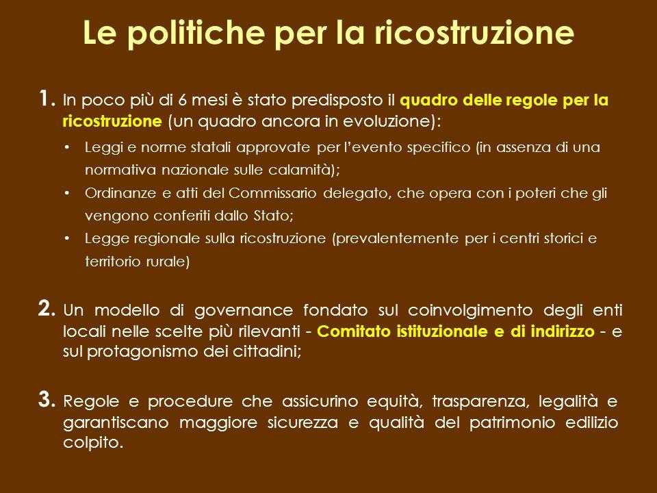 Le politiche per la ricostruzione