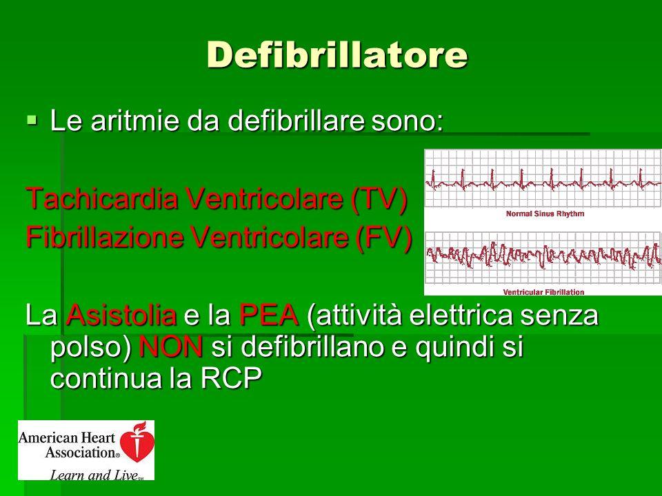 Defibrillatore Le aritmie da defibrillare sono: