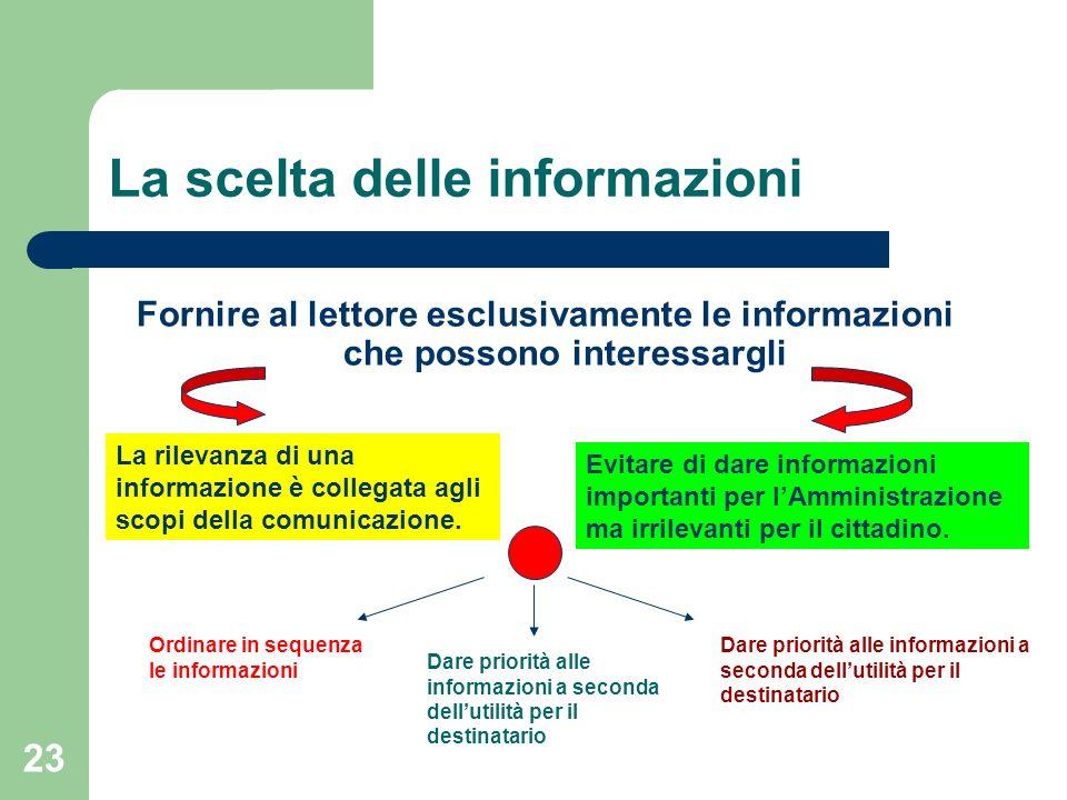 La scelta delle informazioni