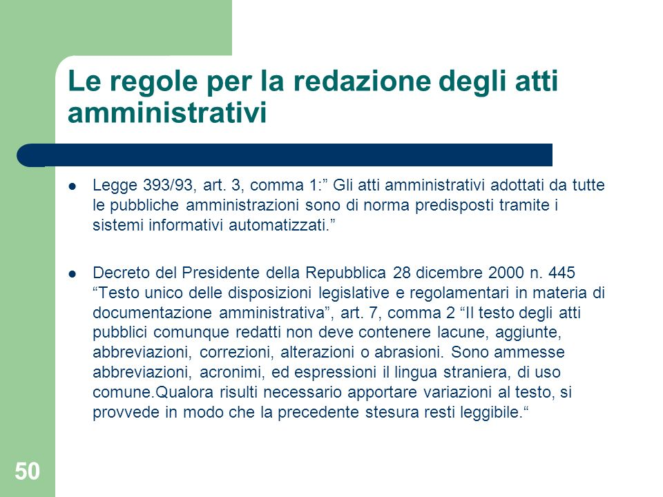 Le regole per la redazione degli atti amministrativi