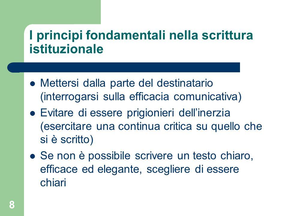I principi fondamentali nella scrittura istituzionale