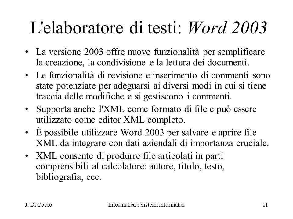 L elaboratore di testi: Word 2003
