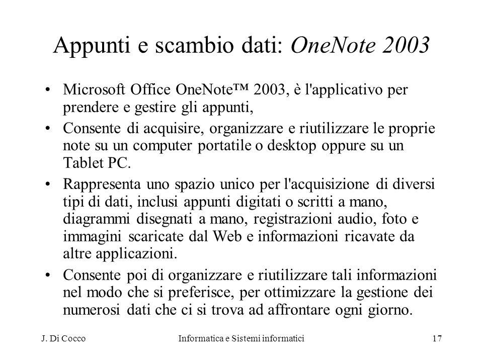 Appunti e scambio dati: OneNote 2003