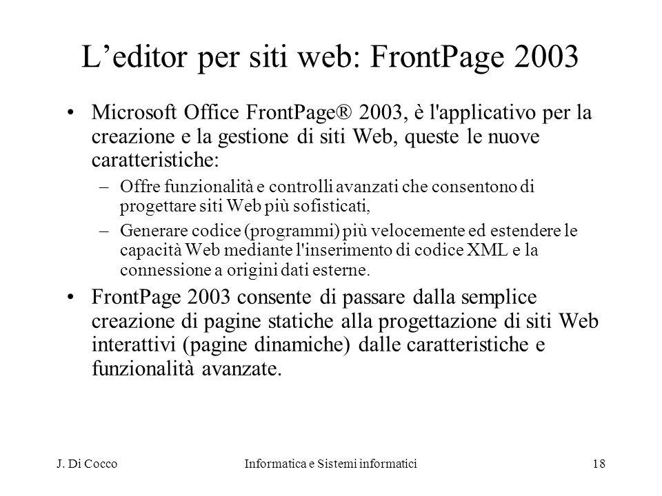 L'editor per siti web: FrontPage 2003