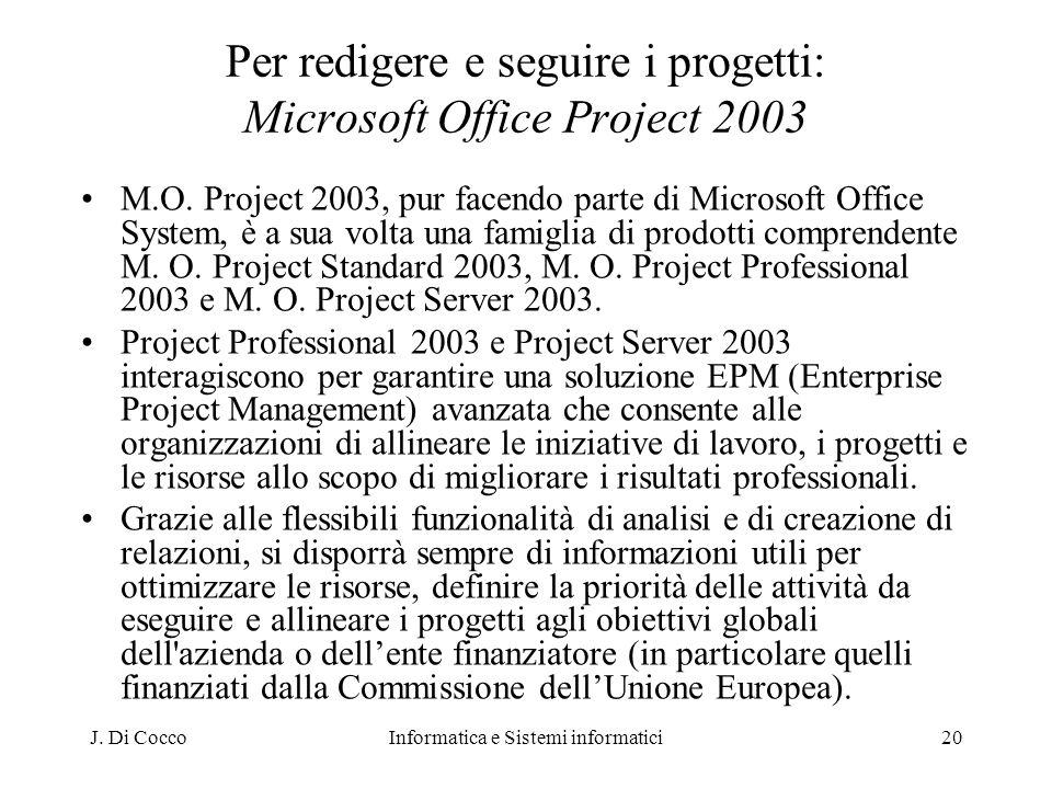 Per redigere e seguire i progetti: Microsoft Office Project 2003