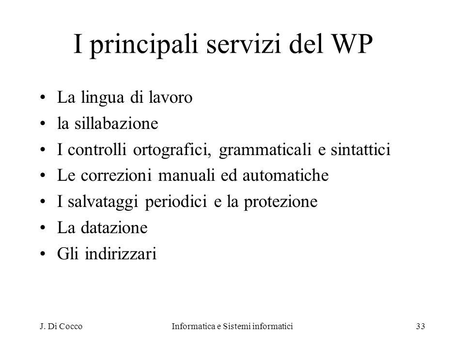 I principali servizi del WP