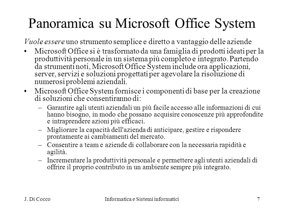 Panoramica su Microsoft Office System