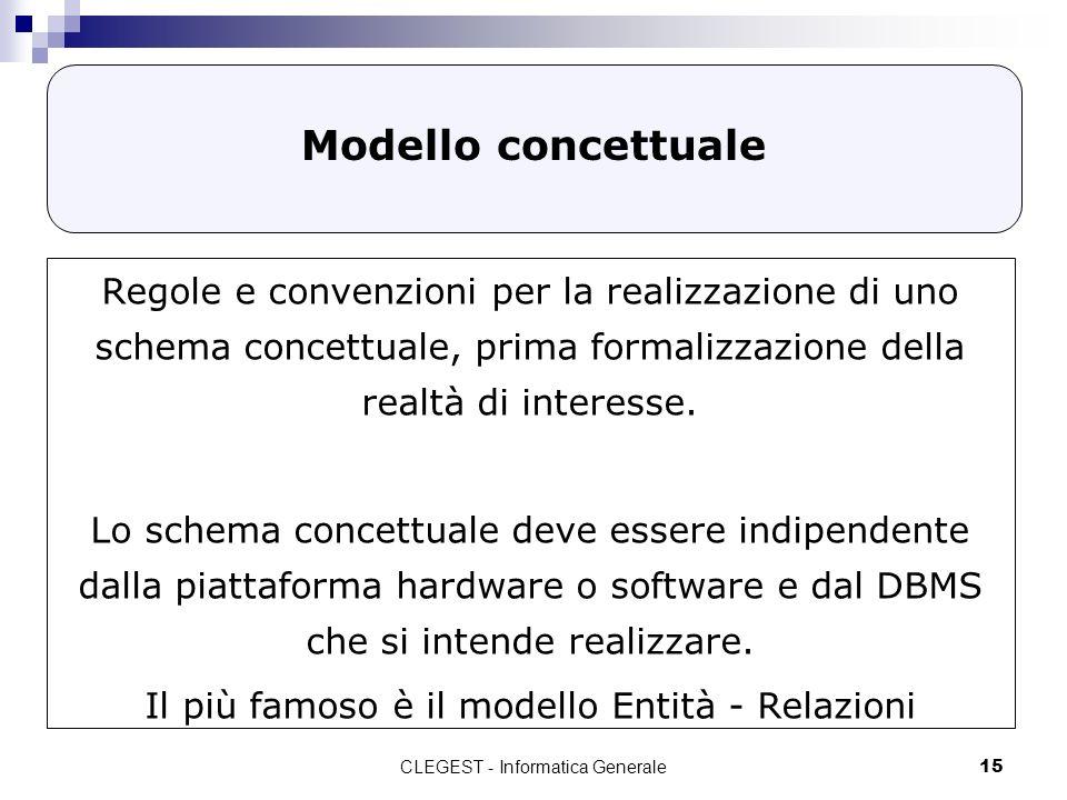 Modello concettuale Regole e convenzioni per la realizzazione di uno schema concettuale, prima formalizzazione della realtà di interesse.
