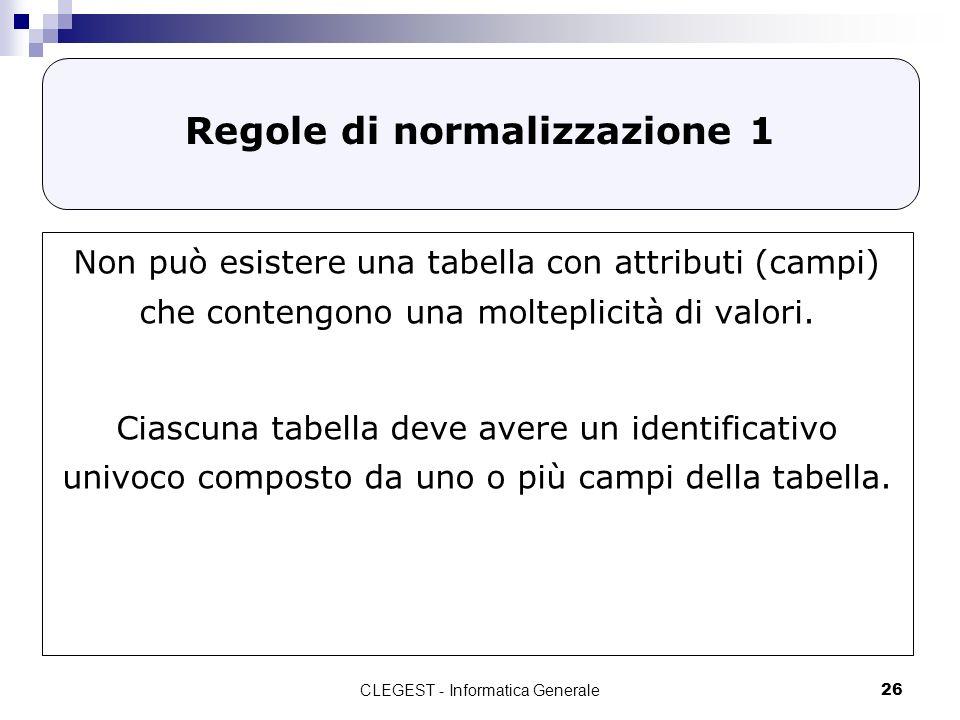 Regole di normalizzazione 1