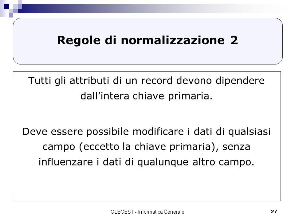 Regole di normalizzazione 2
