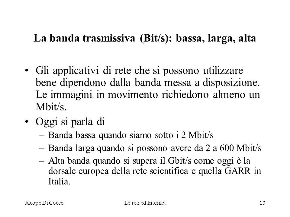 La banda trasmissiva (Bit/s): bassa, larga, alta
