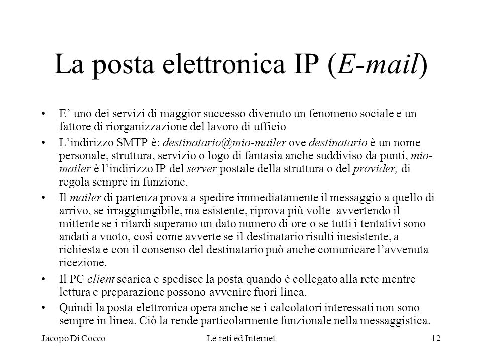 La posta elettronica IP (E-mail)