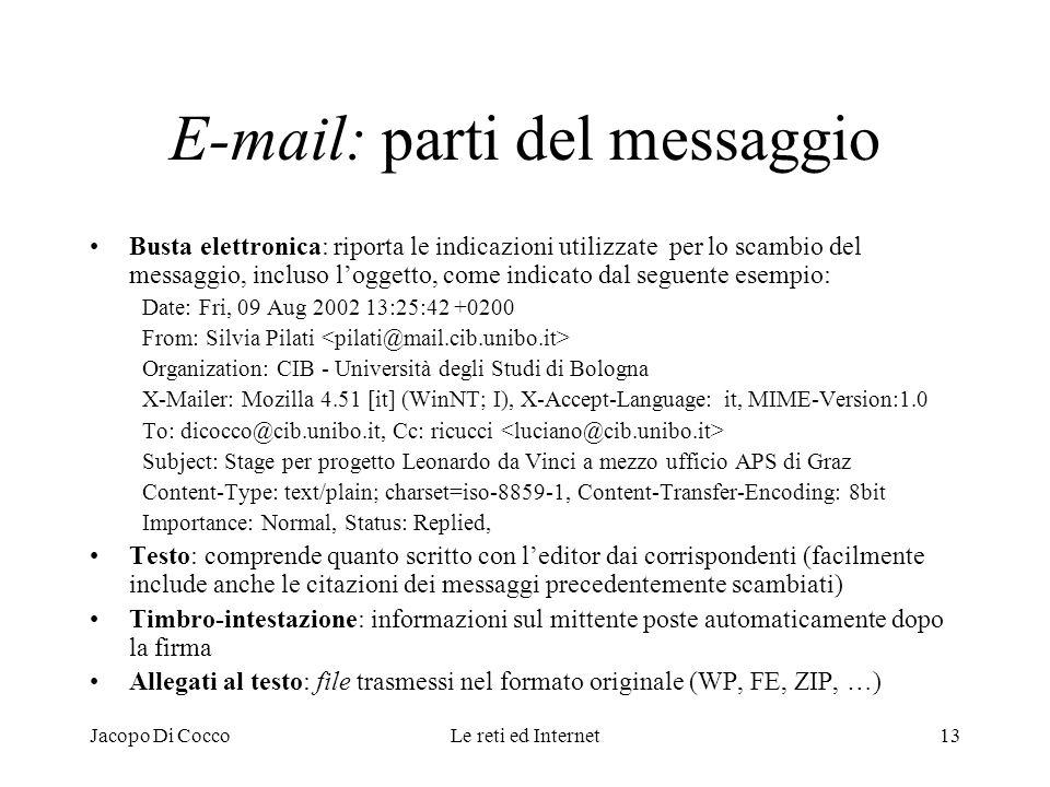 E-mail: parti del messaggio