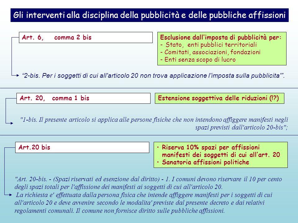 Gli interventi alla disciplina della pubblicità e delle pubbliche affissioni