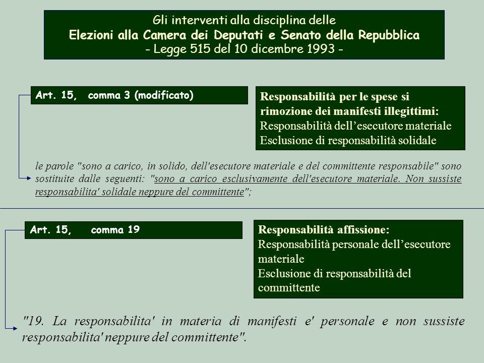 Gli interventi alla disciplina delle Elezioni alla Camera dei Deputati e Senato della Repubblica - Legge 515 del 10 dicembre 1993 -