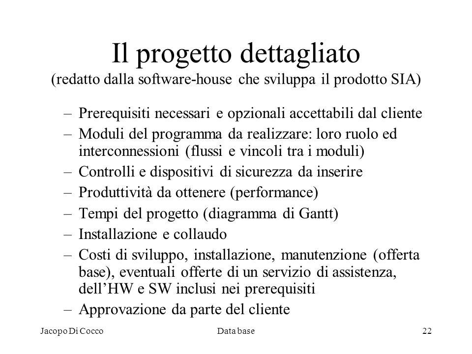 Il progetto dettagliato (redatto dalla software-house che sviluppa il prodotto SIA)
