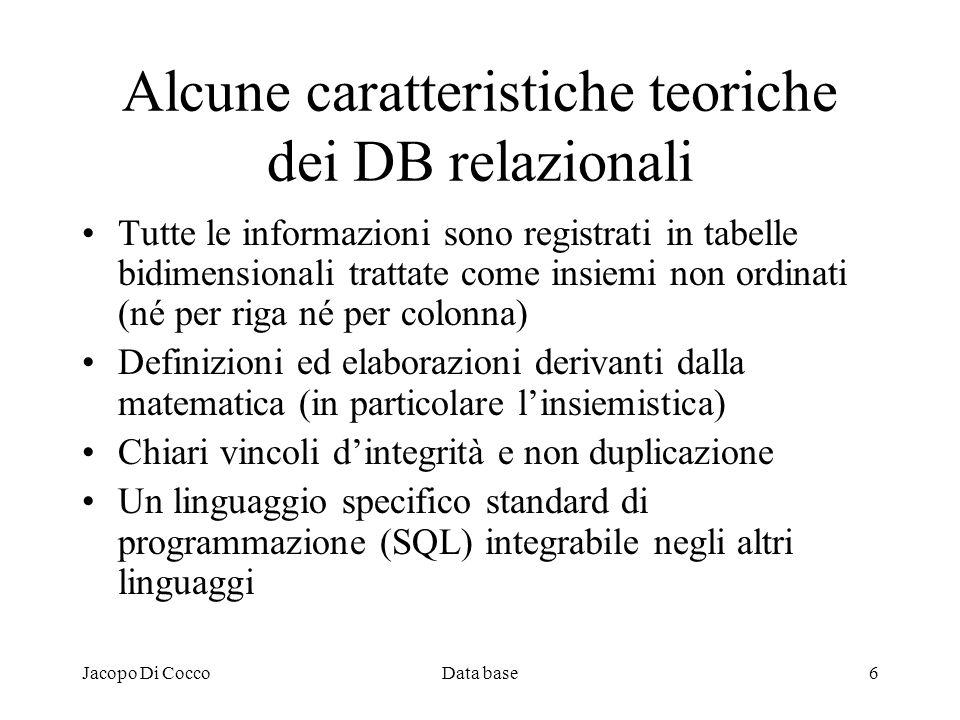Alcune caratteristiche teoriche dei DB relazionali