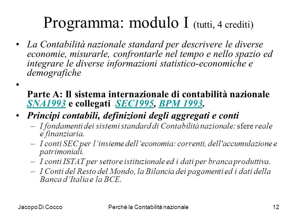Programma: modulo I (tutti, 4 crediti)