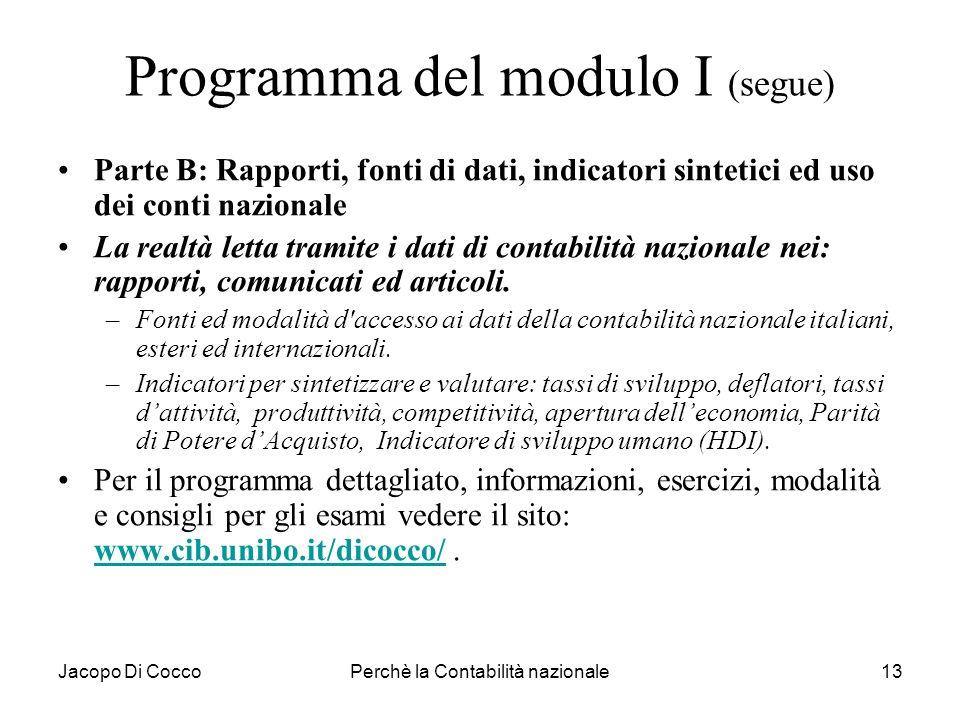Programma del modulo I (segue)