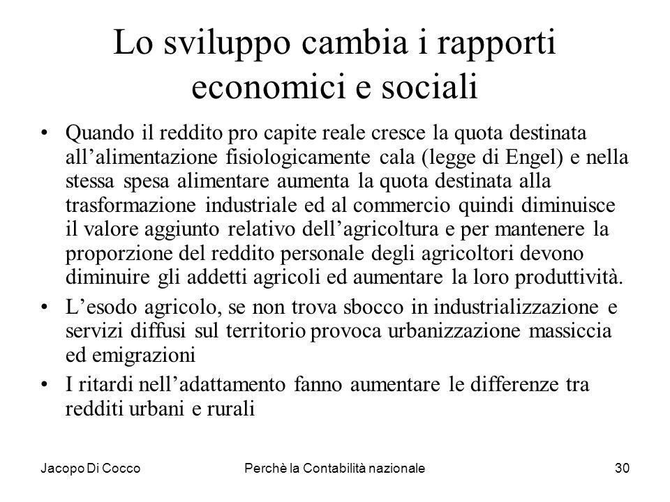 Lo sviluppo cambia i rapporti economici e sociali