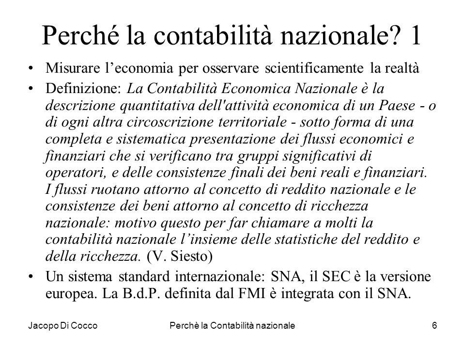 Perché la contabilità nazionale 1