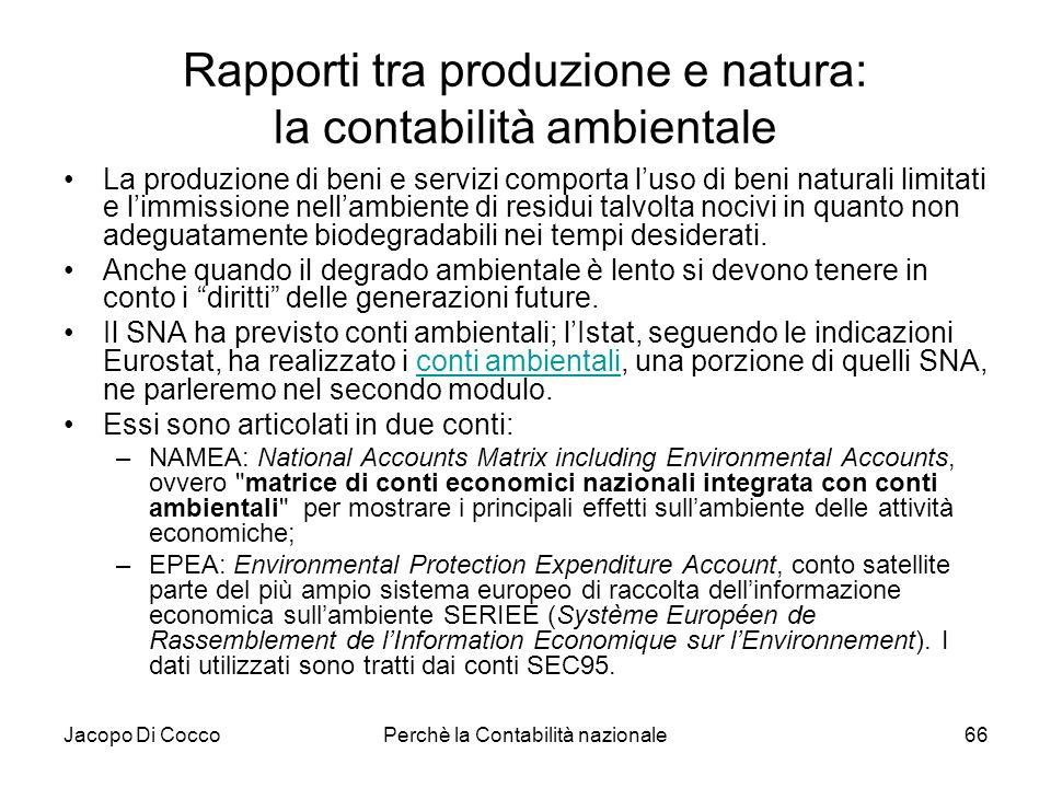 Rapporti tra produzione e natura: la contabilità ambientale