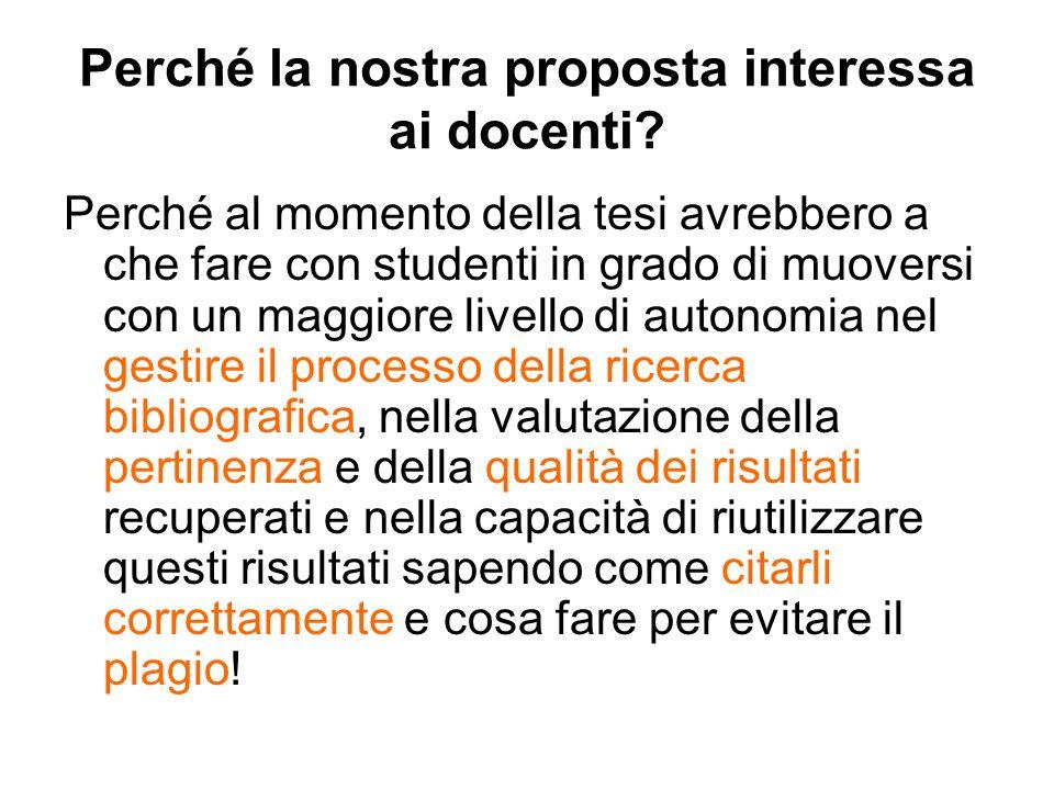 Perché la nostra proposta interessa ai docenti