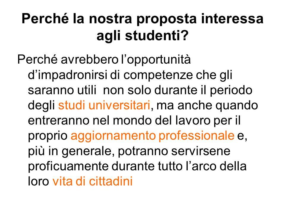 Perché la nostra proposta interessa agli studenti