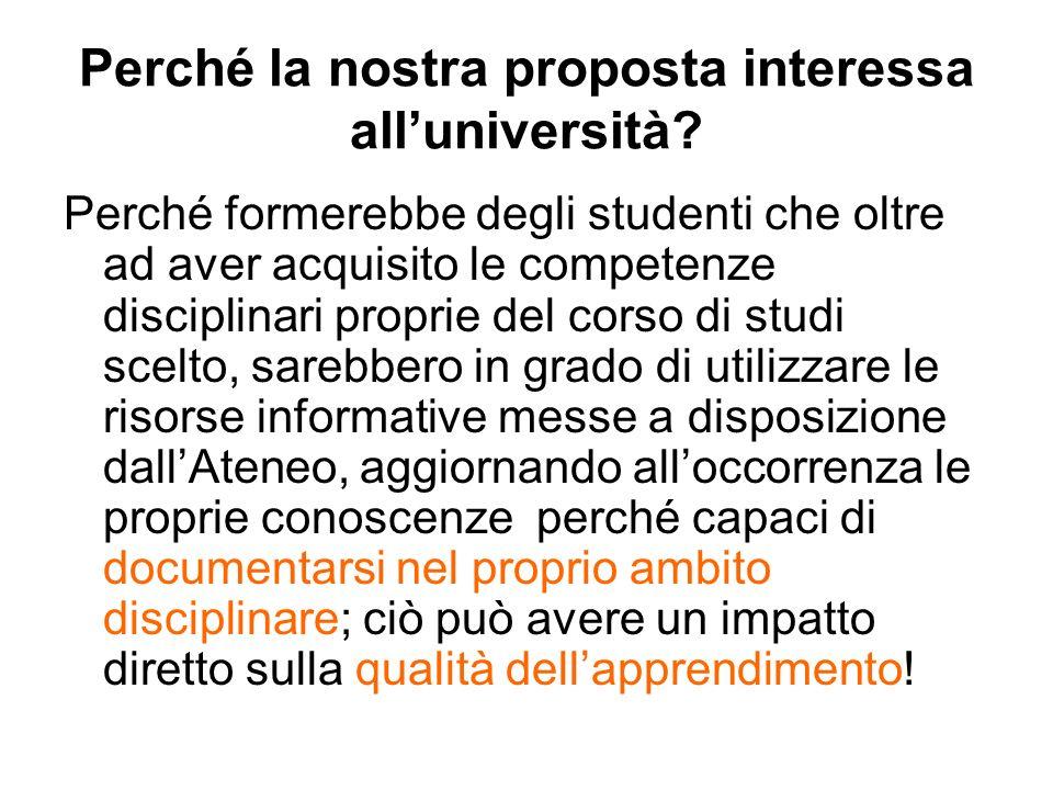 Perché la nostra proposta interessa all'università