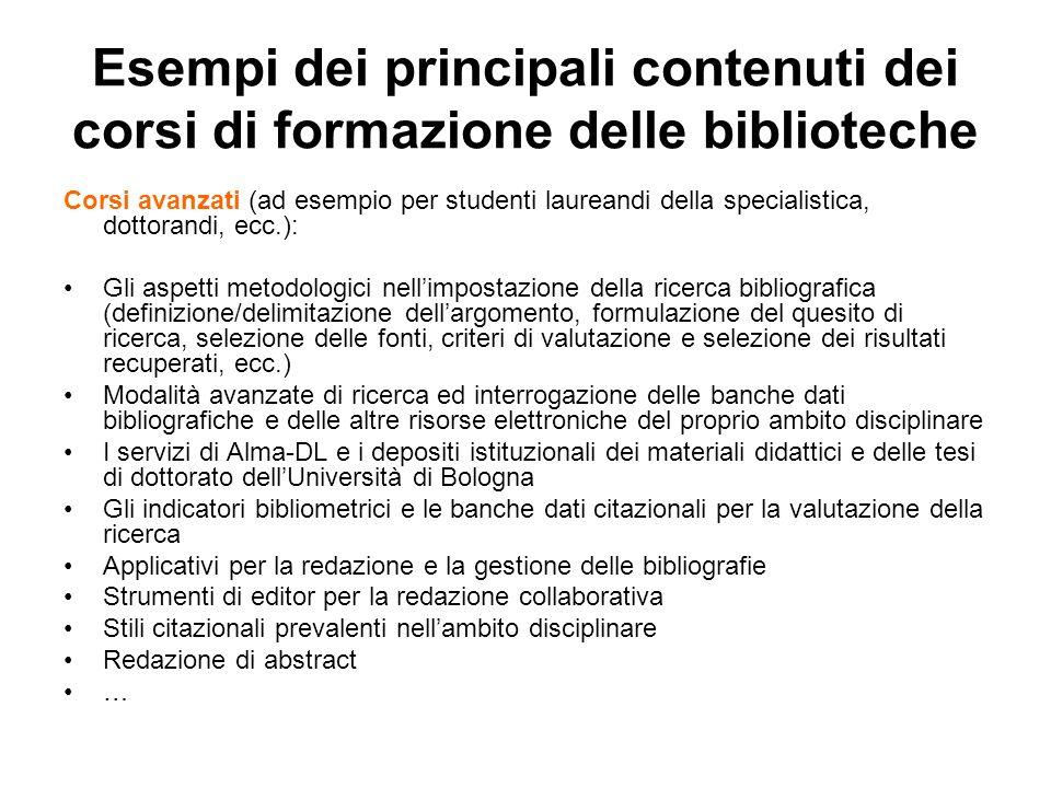 Esempi dei principali contenuti dei corsi di formazione delle biblioteche