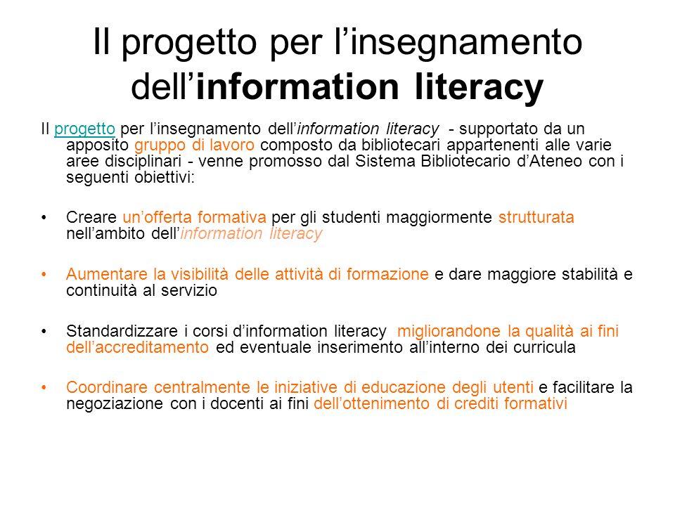 Il progetto per l'insegnamento dell'information literacy