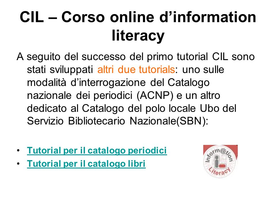 CIL – Corso online d'information literacy