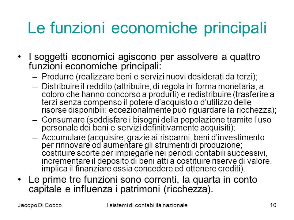 Le funzioni economiche principali