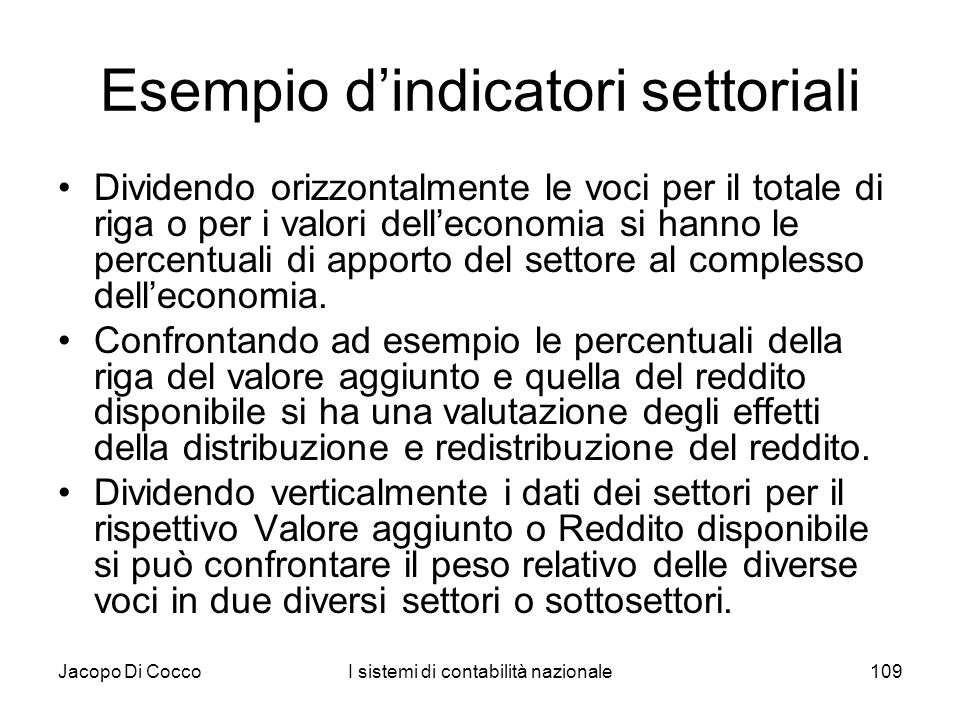 Esempio d'indicatori settoriali
