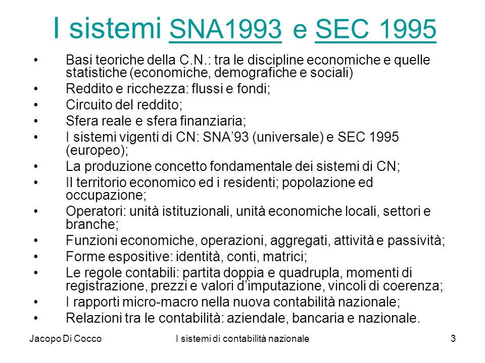 I sistemi di contabilità nazionale