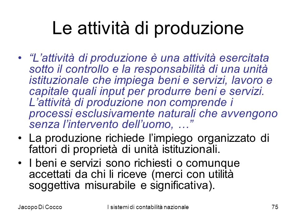 Le attività di produzione