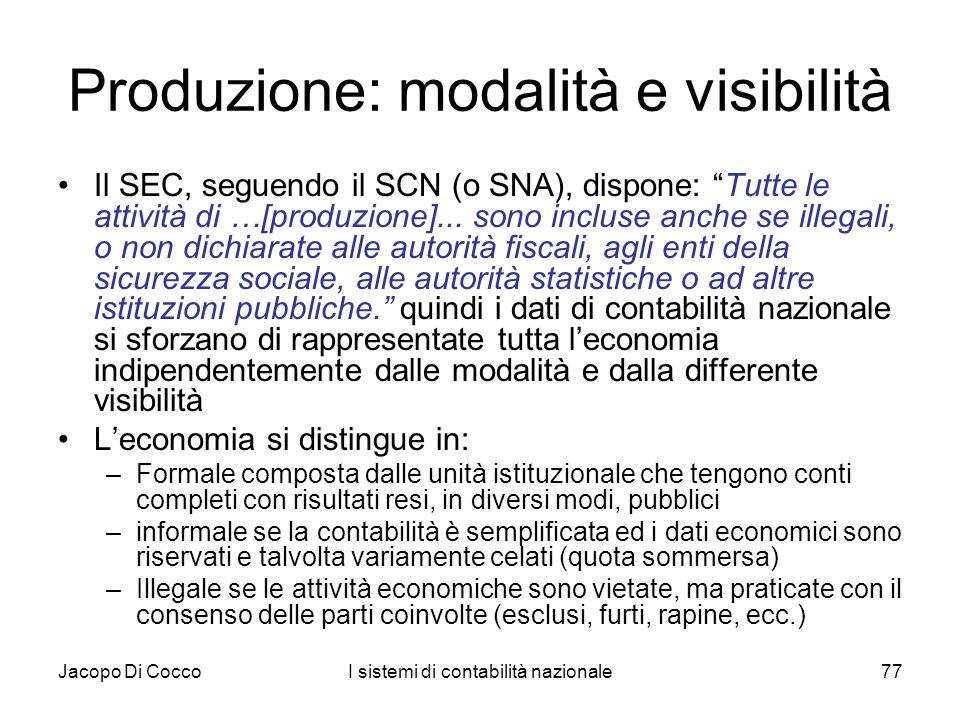 Produzione: modalità e visibilità