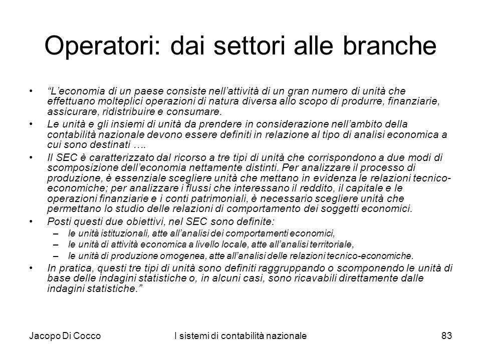 Operatori: dai settori alle branche