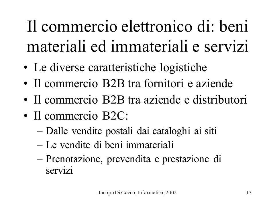 Il commercio elettronico di: beni materiali ed immateriali e servizi