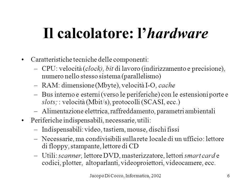 Il calcolatore: l'hardware